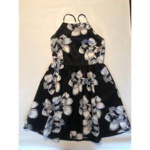 Black and White Floral Print Fit and Flare Dress